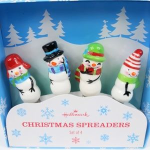 Holiday Dip Cheese Ball Spreader Snowman Set of 4